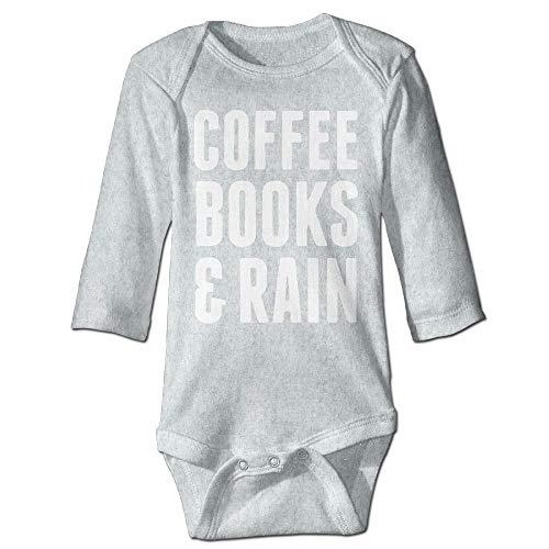 Body de manga larga para beb, unisex, para nios, libros de caf y lluvia