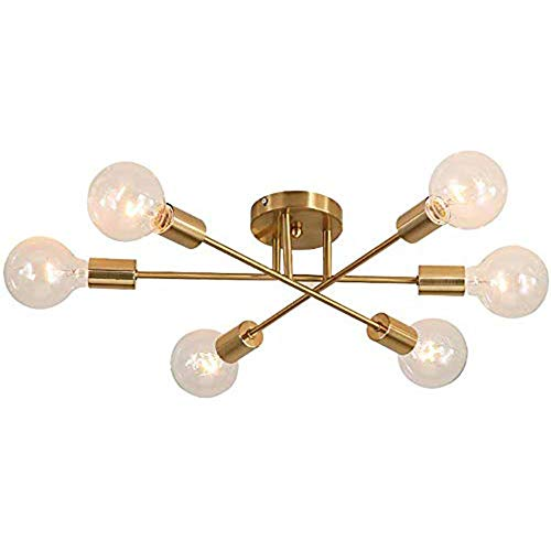 CHHQ Sputnik Kronleuchter, Moderne Minimalistische 6-Licht LED Schmiedeeisen Messing Deckenleuchte Für Schlafzimmer Wohnzimmer Restaurant