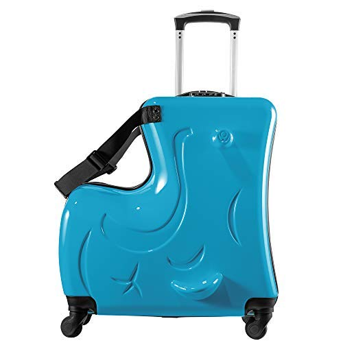Suitcase kid suitcase kid luggage kid travel Fashionable appearance Rideable Funny suitcase Add fun to the journey kid gift 24in Recommended age 2-12 years old (Blue)