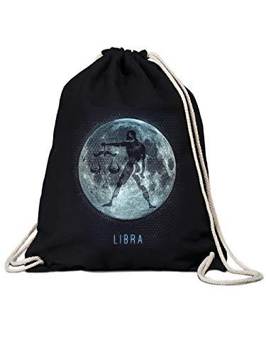 clothinx Sternzeichen Mond Waage | Geburtstag und Geburt September - Oktober | Liebevoll gestaltetes Tierkreiszeichen Motiv Gym-Bag Baumwoll-Beutel Schwarz
