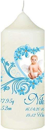Mein Zwergenland doopgepersonaliseerde kaars met naam en datum motief 4, foto in speelse hart in blauw