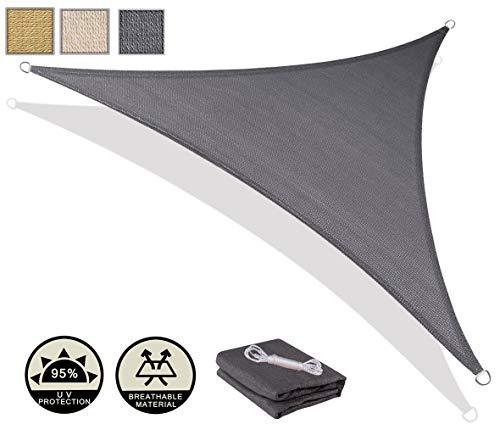 AXT SHADE Toldo Vela de Sombra Triangular 4 x 4 x 5,65 m, protección Rayos UV y HDPE Transpirable para Patio, Exteriores, Jardín, Color Gris