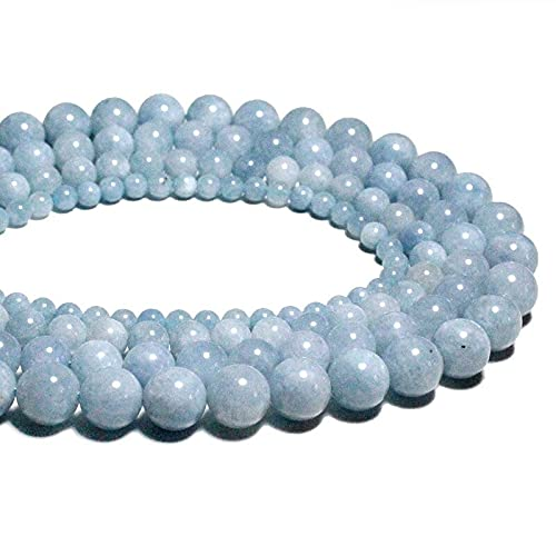 N1N1 - Natural Light Blue Aquamarines Loose Round Natural Stone Beads for Jewelry Making DIY Bracelet 4/6/8/10 /12 mm (6mm About 63pcs)