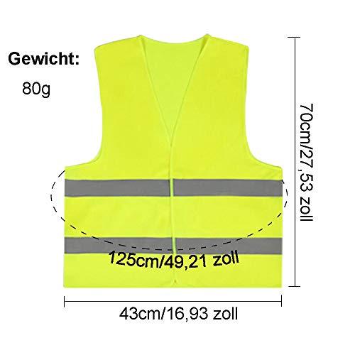 JHCtech 5 Stück Warnwesten Auto, Neon Gelb Waschbar 360 Grad Reflektierende Sicherheitsweste für Die Sicherheit Von Fahrern, Fahrern und Arbeitern mit Hohem Risiko(EINWEG) - 2