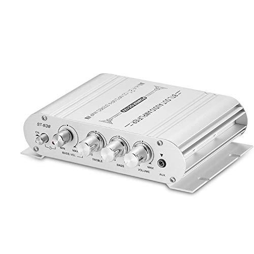 Mochatopia Mini Verstärker 2.1 Kanal mit Bass Subwoofer Ausgang, Hi-Fi Musik Audio Stereo Endstufe für PC Handy Haus Zimmer TV