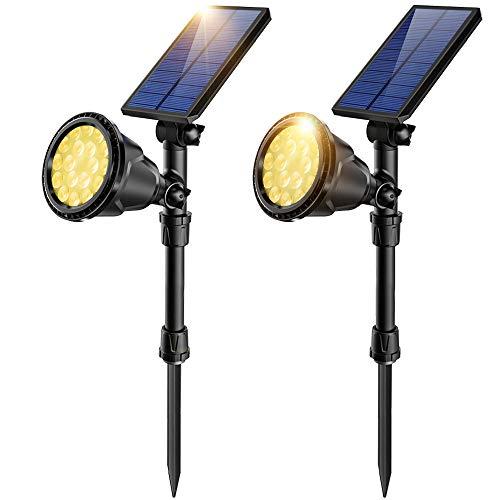 JSOT Luce Solare Led Esterno, 18 LED Luci Solari EsternoLampade Solari Giardino 2 Modalità di Illuminazione Luci di Sicurezza Impermeabili Faretto per Parete Strade - Luce Bianca Calda, 2 Pezzi
