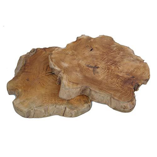 2 Teakholzscheiben - Holzscheiben - Holzdekoration - Holzplatte - Naturdeko - Unikat - ca.25-30 cm Durchmesser - ca.3 cm Dicke - 1 VE = 2 Stück -26416