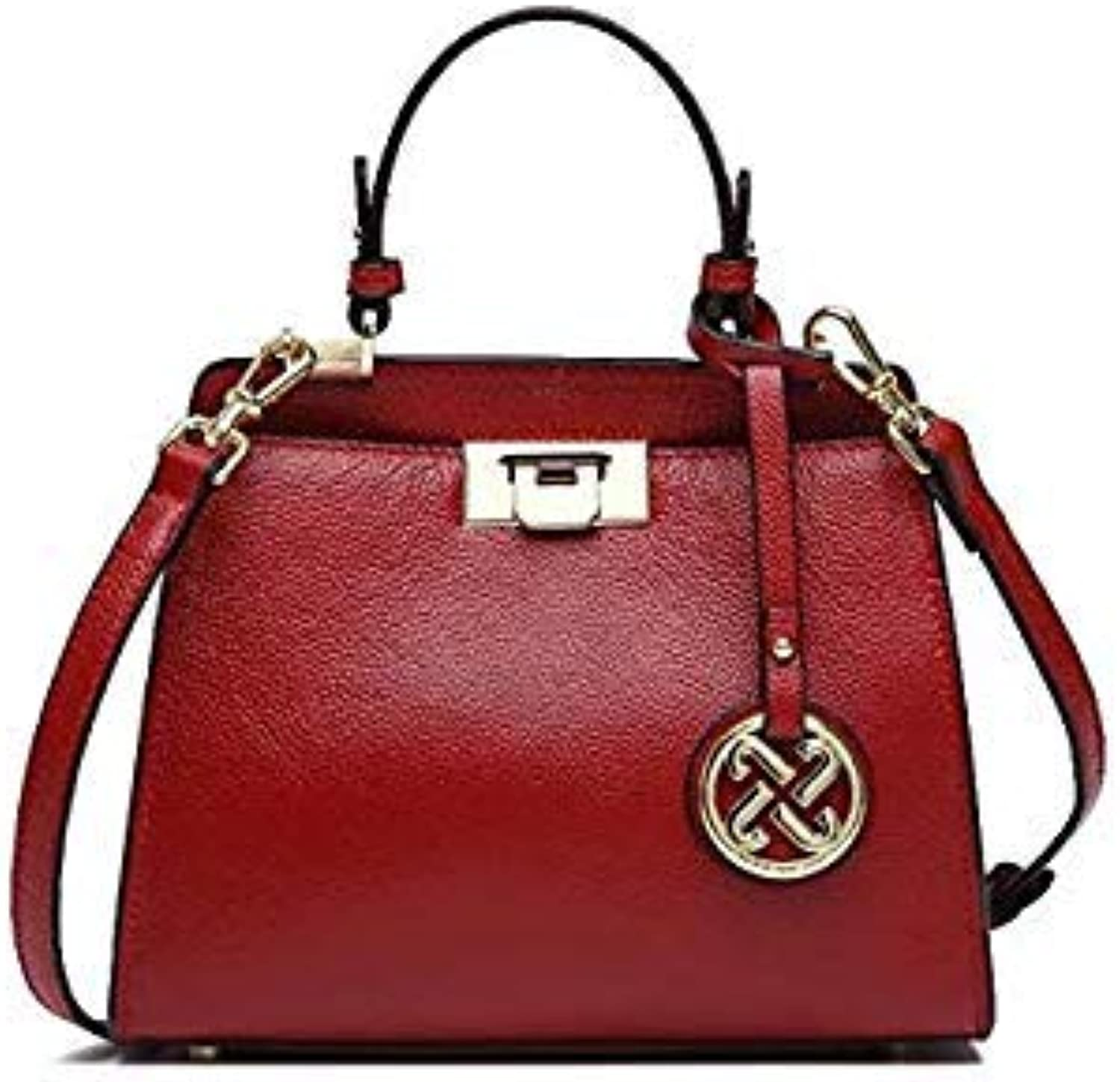 Brand Women Genuine Leather Handbags Famous Brands Handbag Messenger Bags Small Shoulder Bag Tassel Metal Lock Tote Bags Red 245x210x100mm
