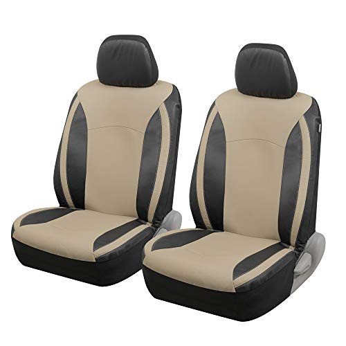 Motor Trend M424 Beige Faux Leather Car Seat Covers for Front Seats Only – Premium Automotive Bucket Seat Covers, Made for Vehicles with Removable Headrests, Universal Fit for Car Truck Van SUV