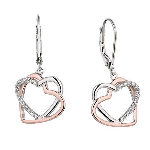 JO WISDOM Damen Ohrhänger Herz Silber 925, Ohrringe Hängende Schmuck für Frauen in zweifarbigem Roségold und Weißgold überzogen