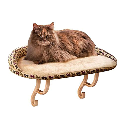 K&H Pet Products Deluxe Kitty Sill with Removable Bolster Tan/Kitty Print Unheated – 14 X 24 Inches