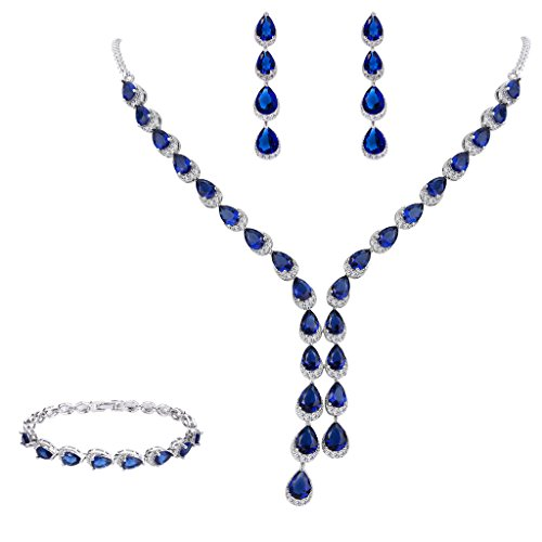 FANZE Women's Prong All Teardrop Cubic Zirconia Gorgeous Wedding Bridal Y-Necklace Dangle Earrings Jewelry Set Sapphire Color