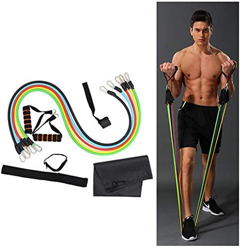 Mnjin Stilvolle Einfachheit 11PC Widerstandsband Zugseil für Yoga Fitness Rallye Zugseil Fitnessgeräte Set Muskeltrainingsgürtel Elastisches Seil