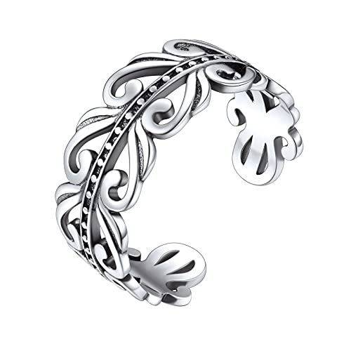 ChicSilver 925 Sterling Silver Ring 8mm Irish Celtic Knot Ring Eternity Wedding Band for Women Adjustable