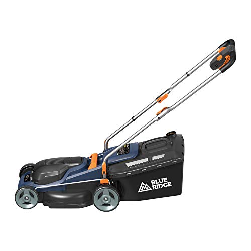 BLUE RIDGE 36V Cordless Lawnmower with 2.0 Ah Li-ion Battery, 34 cm Cutting Wide, 6 Stages (20-70mm) Cutting Height Adjustments, Grass Collection Box & Charger Included