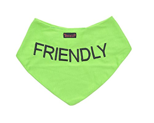 Dexil Friendly Green Dog Bandana Quality Personalised Embroidered Message Neck Scarf Fashion Accessory Prevents Accidents by Warning Others of Your Dog in Advance
