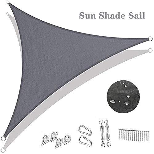 Sonnensegel dreieck der Sonnensegel wasserdicht Regenschutz Windschutz UV Schutz Garten Balkon und Terrasse Mit festem Zubehör,6x6x6m/19.6'x19.6'x19.6'