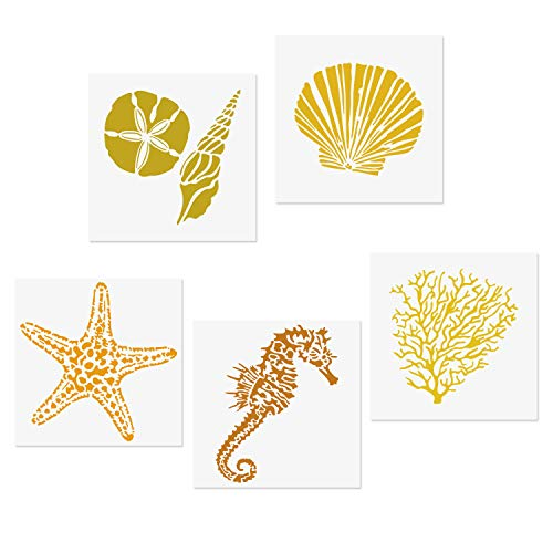 CODOHI 5 Mixed Media Sea Creatures Animals Stencils Set - Starfish, Conch, Seahorse, Coral, Shell Designs, 5.1x5.1' Templates for Arts Card Making Journaling Scrapbooking DIY Furniture Wall Floor Deco