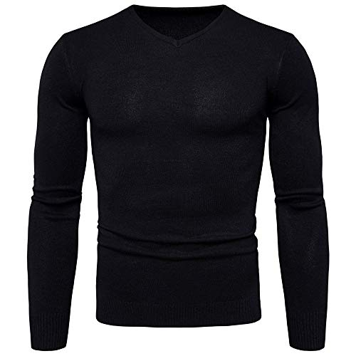 Jumpers Men Long-Sleeved V-Neck Solid Color Elegant Sweater Men Fine Knit Knitted Sweater Slim-Fit Tops Sport Thin Shirt Soft Warm All-Match Style Men's Tops XXL