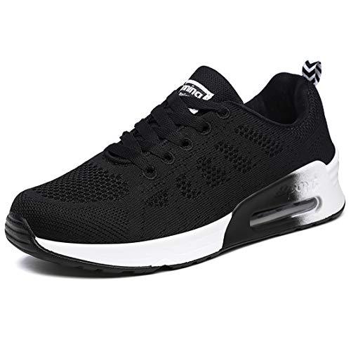 Zapatillas Deportivas Mujer Zapatos para Correr Mujer Bambas Ligero Mujer Calzado Deportivo Tenis Mujer Negro,37 EU
