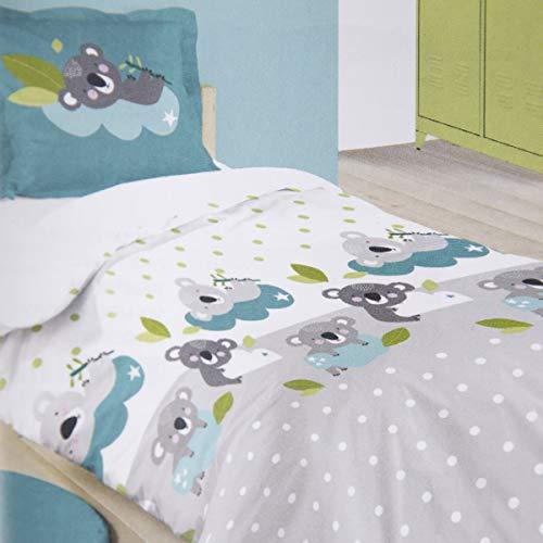 SCHÖNER LEBEN. Kinder Bettwäsche Koala und Punkte 100% Baumwolle weiß grau türkis 140x200cm