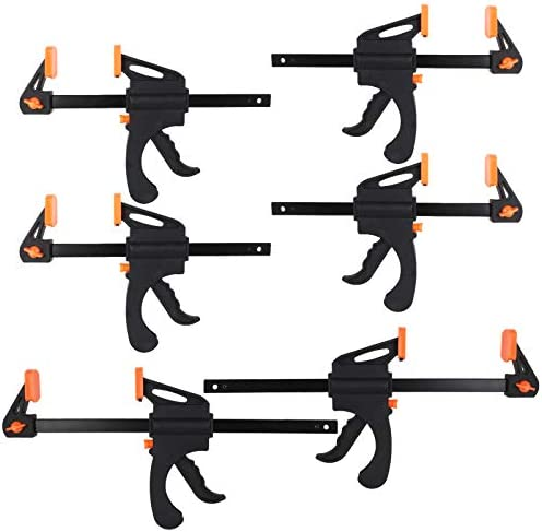 6 Pack Bar Clamps 10 6 Inch One Handed Clamp Spreader Quick Grip Clamps Ratchet Bar Clamps for product image