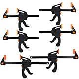 6 Pack Bar Clamps 10 & 6 Inch One-Handed Clamp/Spreader Quick Grip Clamps Ratchet Bar Clamps for Woodworking E-Z Hold F Clamps