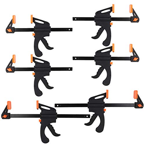6 Pack Quick Grip F Clamps for Woodworking 6 inch & 10 inch Quick Grip Bar Clamps Set Ratchet Bar Clamps for Woodworking Wood Bar Clamps One-Handed Clamp/Spreader E-Z Hold F Clamps