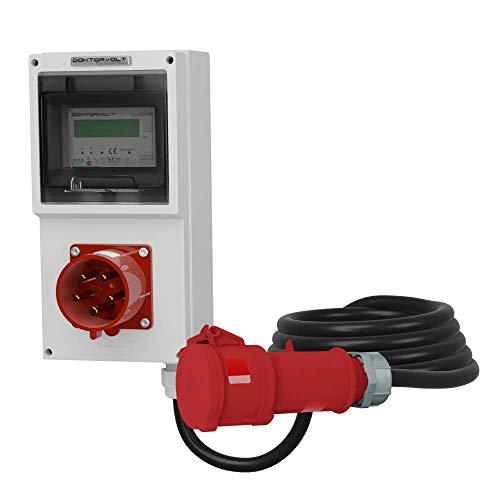 Contador eléctrico portátil MID con enchufe Mennekes empotrable, 32 A, 5 x 4 mm2, distribuidor de corriente, distribuidor de corriente para construcción, Doktorvolt 4333