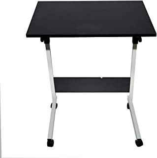 Alexsix Mobile Laptop Computer Desk, Portable Foldable Computer Work Station Cart with Wheels Overbed Desk Rolling Laptop Stand Rolling Laptop Desk Black White Shipped from US