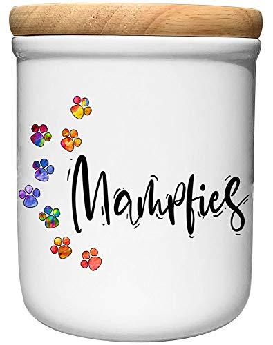 Cadouri Keramik Leckerli-Dose » Mampfies «┊Snackdose Keksdose Aufbewahrungsdose┊mit Holzdeckel