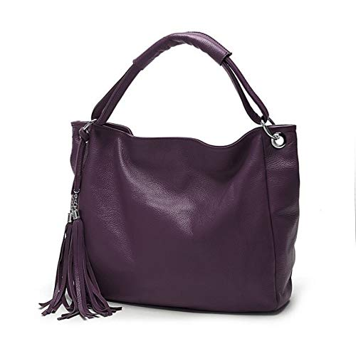 Segater Women Top Handle Satchel PU Leather Handbag Shoulder Bag Tote Purse Purple Size: One size