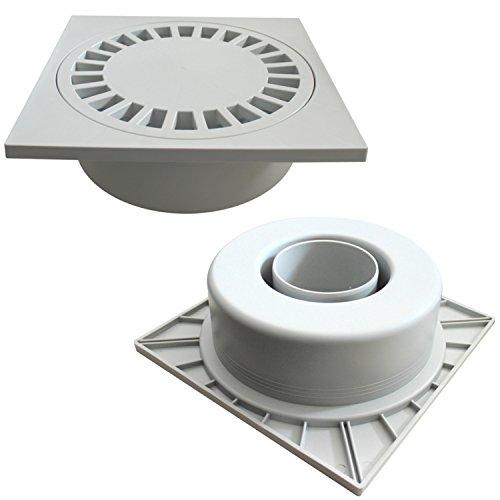 Hofablauf Gartenablauf Grau Kanaldeckel Kunststoff Ablauf Siphon 300 x 300 DN110