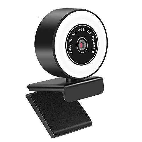 Webcam con Luce Ad Anello, Webcam 2K Pc con Microfono, Webcam HD con Luce Anulare e Microfono Integrato per La Riduzione del Rumore, Fotocamera USB con Luminosità Regolabile a 3 Livelli