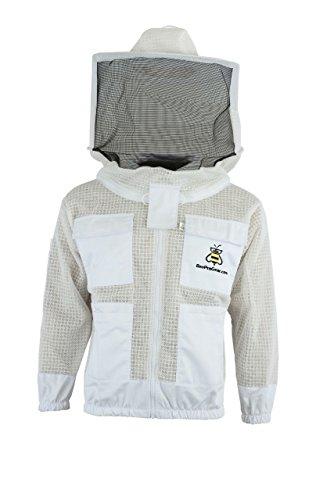 JRV - 3X Layers Bee-Sicherheitsjacke - Unisex-Imkereijacke aus weißem Netzgewebe - Imker-Rundschleier-Schutzkleidung - Voll belüftete Imkereijacke (L)