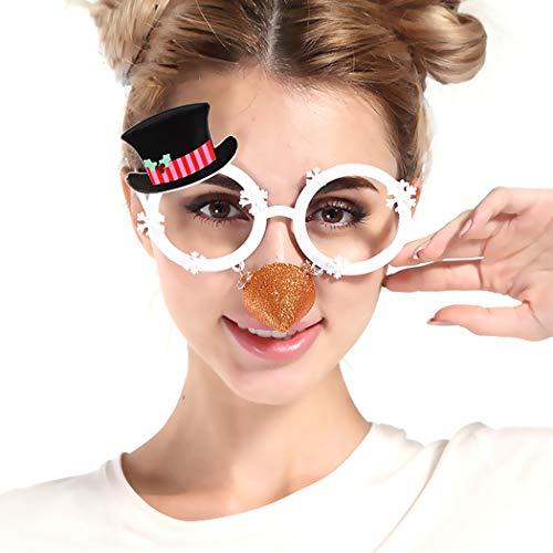 Zoylink Weihnachtsgläser Party Gläser Dekorative Hut Schneeflocke Lustige Brille