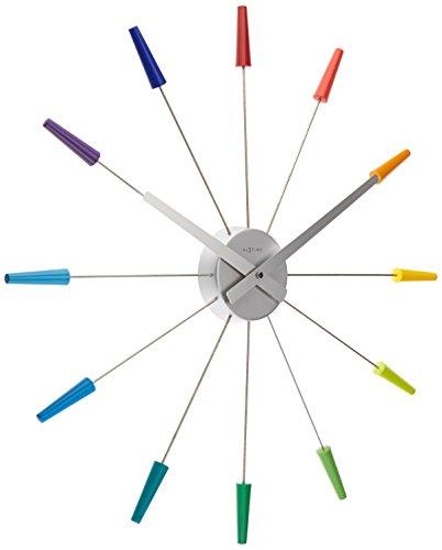 NeXtime reloj de pared 'PLUG INN', muy silencioso, multicolor, acero inoxidable, redondo, ø 58 cm