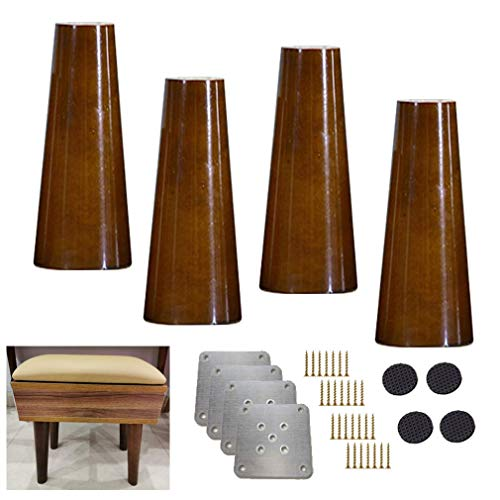 Yuany 4X massief houten keukenmeubelen benen, verticale sofapoten, Mid Century walnoot kleur stoelpoten reservepoten voor stoel recliner salontafel commode sideboard, 5-70 cm optioneel (12 cm)