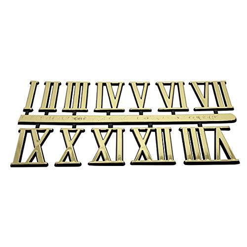 Números para reloj autoadhesivos negros y dorados de plástico, numerales romanos/puntos y barras, Gold Roman 18mm High