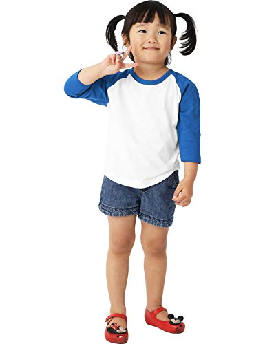 Ma Croix Infants Raglan 3/4 Sleeve Shirt Slim Comfort Fit Baseball Jersey Toddler Tee (12 Month, 5bh03_White/Royal Blue)