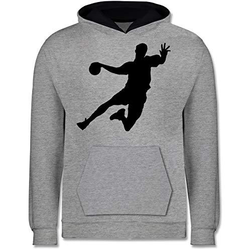 Sport Kind - Handballer - 140 (9/11 Jahre) - Grau meliert/Navy Blau - Geschenke für Jungen 13 Jahre - JH003K - Kinder Kontrast Hoodie
