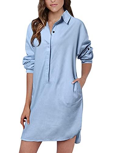 Auxo Damska luźna koszula sukienka z długim rękawem dekolt w serek tunika bluzka topy z kieszenią mini sukienki dżinsowe