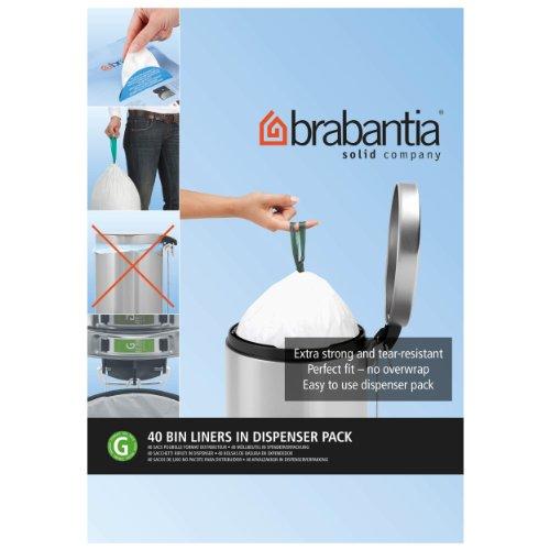 Brabantia PerfectFit Bags G - Sacchetti per Spazzatura,  23 / 30 L, Dispenser da 40 Sacchetti, Bianco