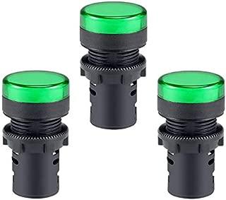 Bookh AC/DC 110V Indicator Lights, Green LED, Flush Panel Mount 22mm AD16-22D/S 3Pcs