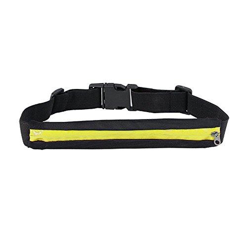 Boolavard tM ® sport sacoche banane à fixation élastique idéal pour ranger accessoires sportifs tels que téléphone portable lecteur mP3, clés, porte-monnaie, etc. Jaune/noir Jaune