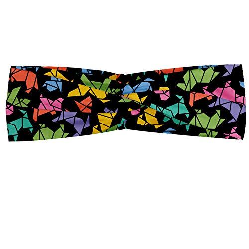 ABAKUHAUS Diadame Perros, Banda Elástica y Suave para Mujer para Deportes y Uso Diario Perro gráfico de fondo del estilo de Origami en colores vivos geométrico Diseño Animal, Multicolor