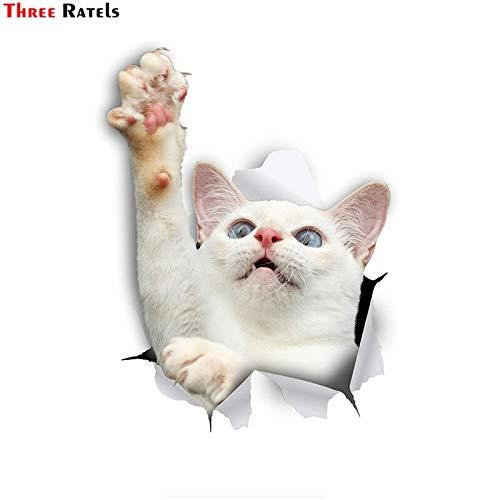 RSZHHL Sticker de Carro FTC-1091 Pegatina de Gato 3D Pegatina de Gato de Alcance Blanco para Pared de Coche Nevera Equipaje de baño monopatín portátil