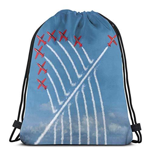 Hangdachang Acrobat Little Show Flugzeuge in klarem sonnigem Himmel mit Rauch hinter Bild Druck, verstellbarer Kordelverschluss, bedruckter Kordelzug, Rucksäcke Taschen