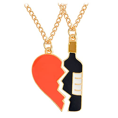 collar 2 Unids / Set Corazón Vino Colgante Collar Mejor Amigo Pareja Cadena Joyería Regalos