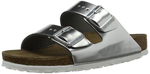 BIRKENSTOCK Damen Arizona Leder Softfootbed Pantoletten, Silber (Metallic Silver), 42 EU